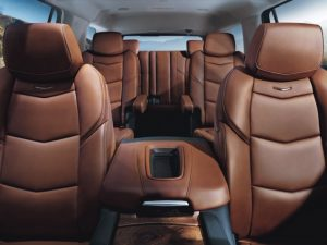 2015 Cadillac Escalade; Kona Brown Semi-Aniline Leather Interior Environment with Natural Finish Elm Accents; April 2014